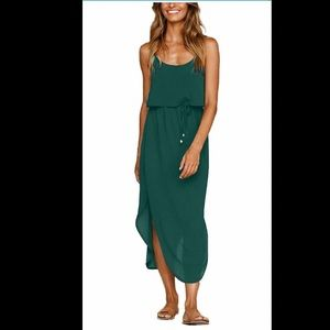 Green Midi Dress w/Adjustable Straps